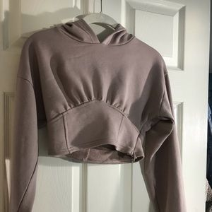 Worn once! Taupe Cropped Corset Hoodie